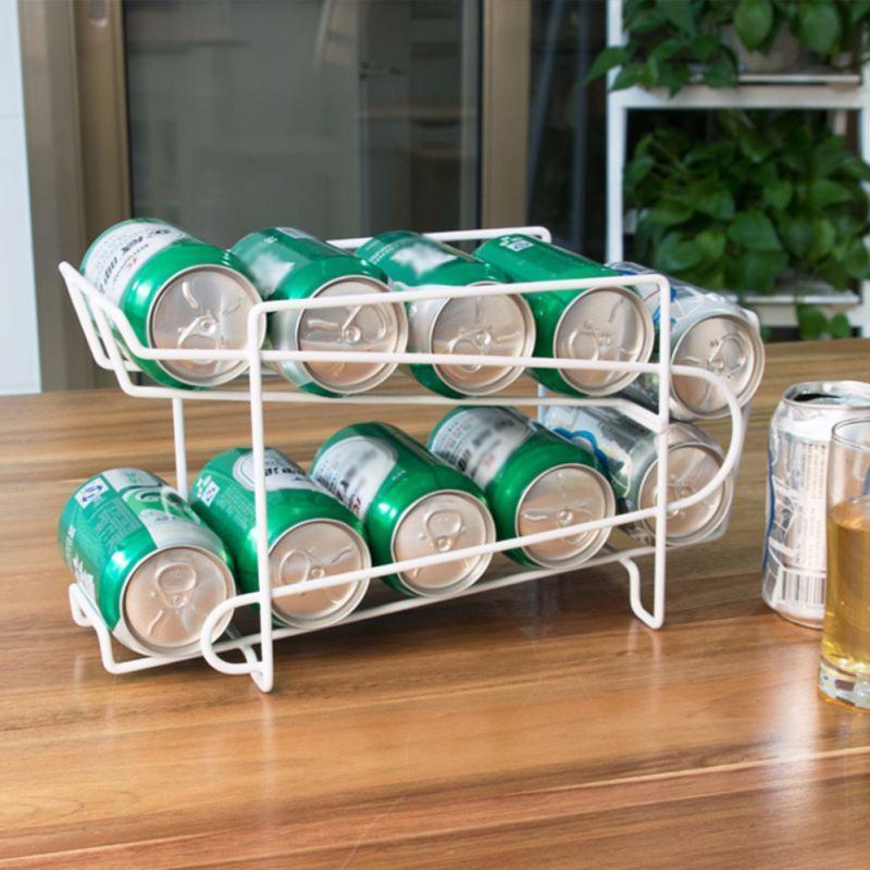 White Cans Storage Holders Racks Beverage Soda Beer Can Dispenser Storage Rack Refrigerator Kitchen Accessories Organizer Tools