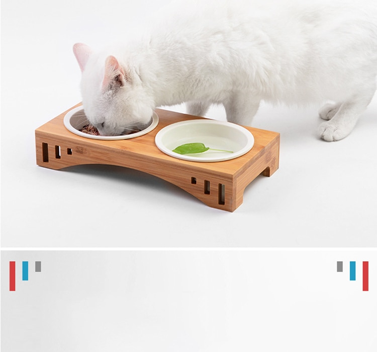 Solid Wood Pet Dining Table Bowl Pet Wooden Tilted Feeders Dog cat Anti-slip Three Bowls Cat Dish with Slope Stand(Heighten)