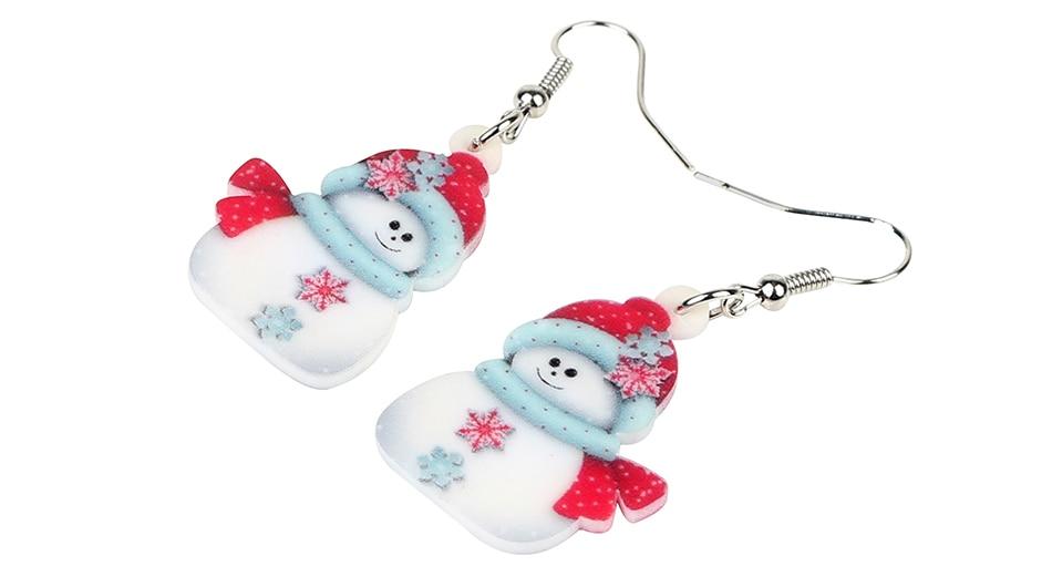 Bonsny Acrylic Christmas Snowman Decoration Earrings Drop Dangle Ornaments Jewelry For Women Girls Teens Navidad Accessories New
