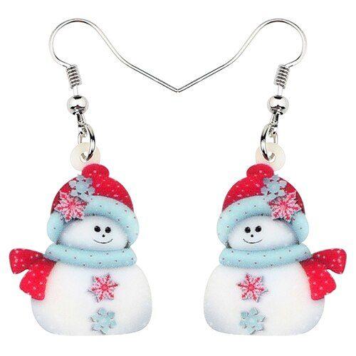 Snowman Earrings Ladies Christmas Accessory