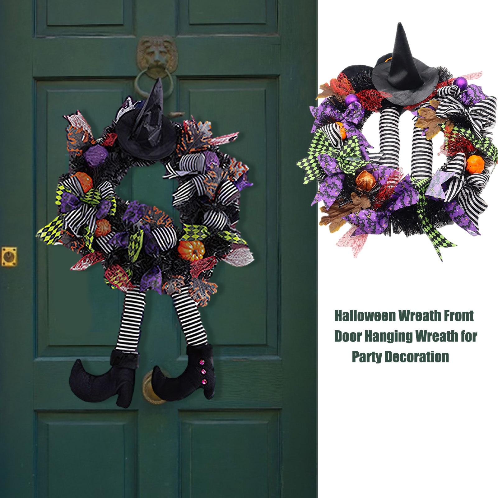 Halloween Front Door Hanging Garland Wreath Ornament Pumpkin Witch Hat Leg Wreath For Home Party Halloween Decoration #W0