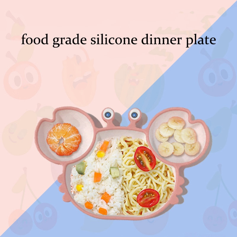 Sub-grid Silicone Sucker Tableware For Baby Cartoon Crab Anti-fall Dinner Plate Infant Kids Supplementary Food Bowl Soft Dishes
