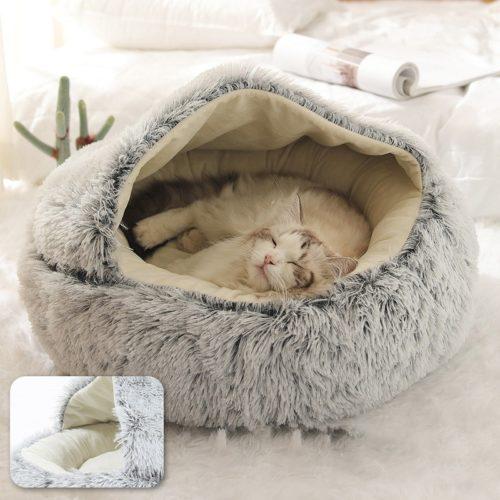 Soft Plush Round Fur Cat Bed