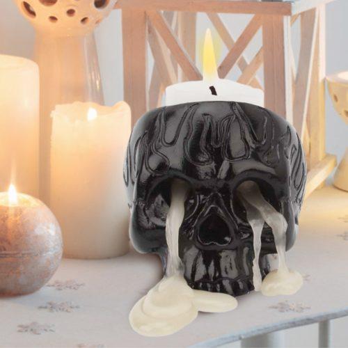 Black Resin Skull Candle Holder